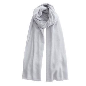 Cashmere and silk grey scarf with fringed edge
